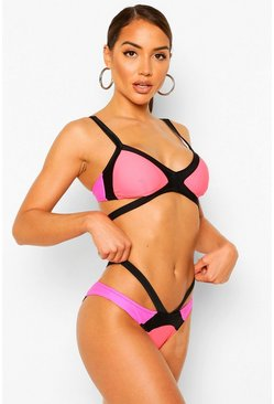 Bikini in Kontrastfarben mit Cut-Out und Colorblock, Rosa