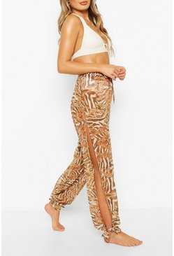 White Scarf Print Tie Ankle Beach Trousers