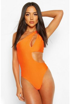 Neon-orange Neon Asymmetric Cut Out Swimsuit