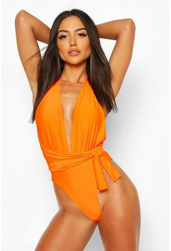 Neon-orange Neon Plunge Wrap Around Belt Swimsuit
