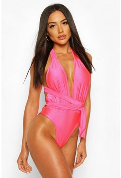 Neon-pink Neon Plunge Wrap Around Belt Swimsuit