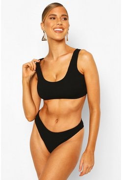 Black Mix & Match Crinkle Crop Top