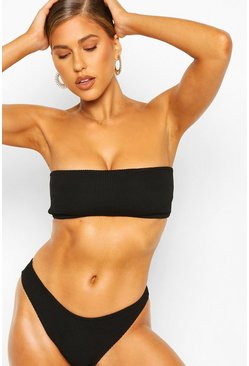 Black Mix & Match Crinkle Bandeau Top