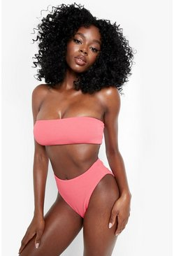 Pink Mix & Match Crinkle Bandeau Top