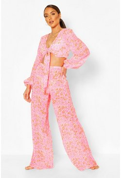 Pink Neon Paisley Tie Top Trouser Beach Co-ord
