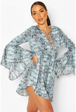 Blue Snake Flare Sleeve Mini Beach Dress