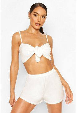 White Tie Front Short Beach Co-Ord