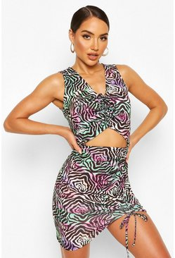Green Zebra Ruched Cutout Jersey Beach Dress