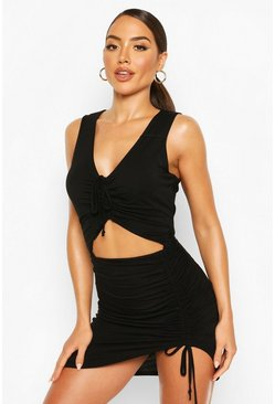 Black Ruched Cut Out Jersey Beach Dress