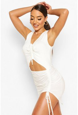White Ruched Cut Out Jersey Beach Dress