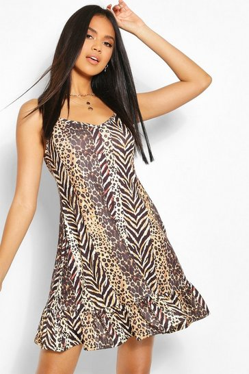 Brown Striped Animal Swing Mini Beach Dress