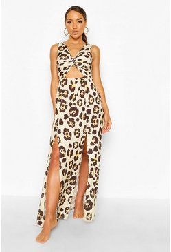 Brown Leopard Twist Front Maxi Beach Dress