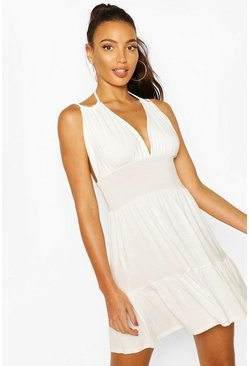 White Tie Shoulder Mini Swing Beach Dress