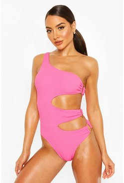 Pink Crinkle Shoulder Cut Out Ring Swimsuit