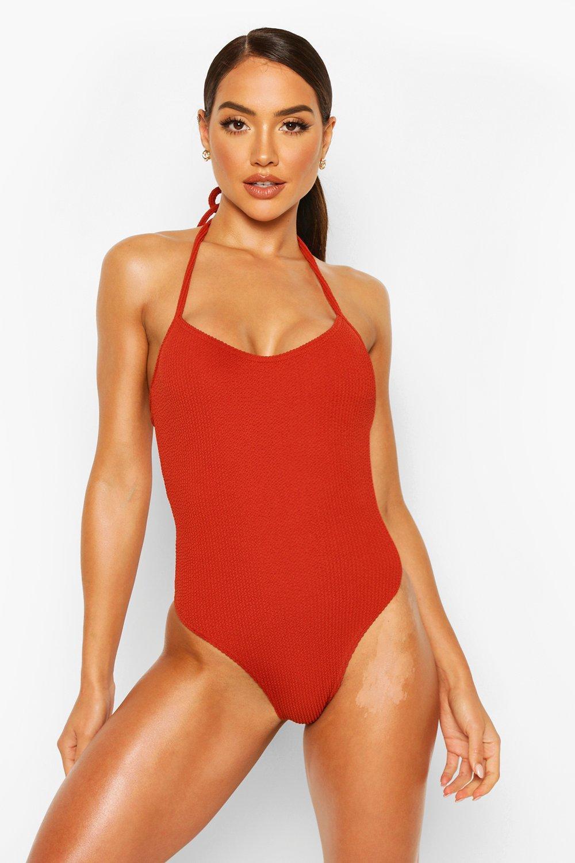 Vintage Bathing Suits | Retro Swimwear | Vintage Swimsuits Womens Halterneck Crinkle bathing suit - orange - 14 $16.00 AT vintagedancer.com