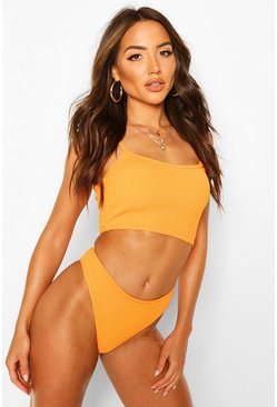 Orange Longline Crinkle Crop Bikini