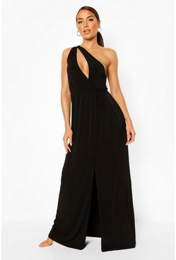 Black One Shoulder Split Leg Maxi Beach Dress