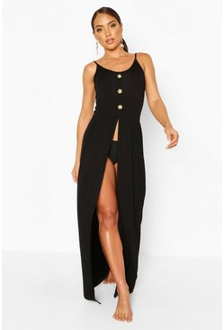 Black Jersey Split Leg Button Maxi Beach Dress