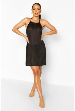 Black Ribbed Mesh Halterneck Mini Beach Dress