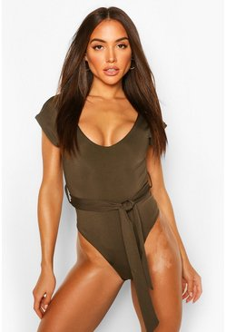 Khaki Plunge Removable Belt Swimsuit