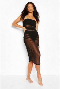 Black Mesh Ruched Bandeau Maxi Beach Dress