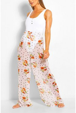 White Coconut Polka Dot High Waist Beach Trousers