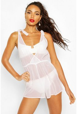 White Bow Tie Shoulder Beach Playsuit