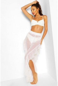 White Ruffle Split Leg Beach Pants