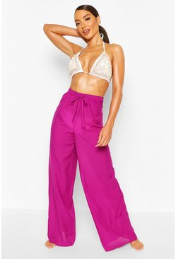 Purple Solid Colour Beach Pants