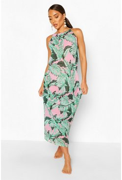Green Palm Print Trapeze Style Maxi Dress