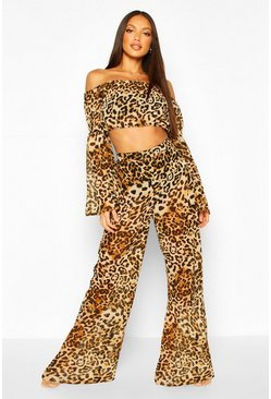 Brown Beach Leopard Print Off Shoulder Wide Leg Co-ord