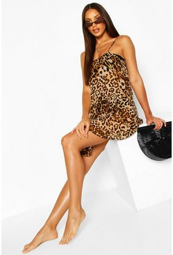 Brown Beach Leopard Print Cami Slip Dress