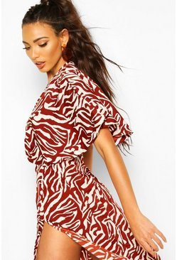 Tan Zebra Cape Style Beach Maxi Dress