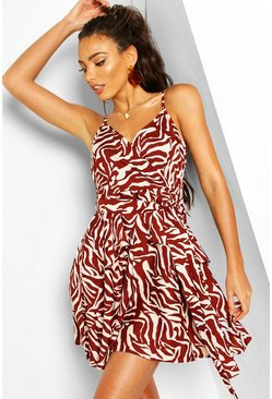 Tan Zebra Floaty Ruffle Sun Dress