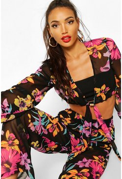 Black Neon Floral Tie Front & Wide Leg Trouser Co-ord