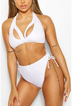 White Mix & Match Tie Side High Leg Brief