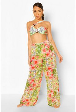 White Tropical Animal High Waist Beach Trousers