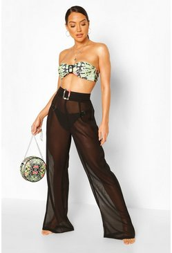 Buckle Belted High Waist Beach Trousers, Black