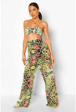 Black Tropical Animal Buckle Waist Pants