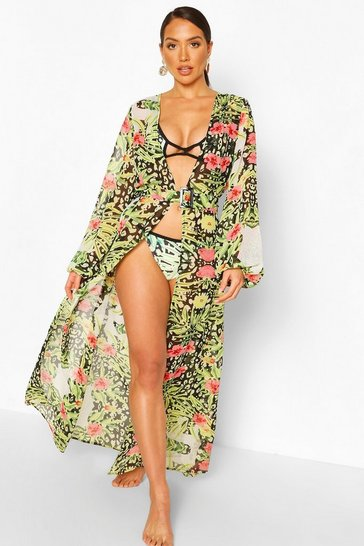Black Tropical Animal Belt Maxi Beach Kimono