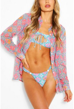 Coral Neon Tile Beach Shirt