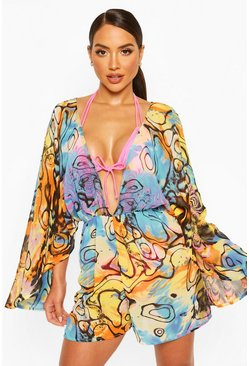 Blue Water Print Plunge Beach Playsuit