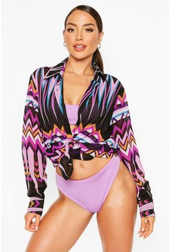 Purple Zig Zag Beach Shirt