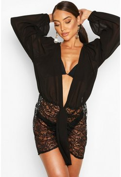 Black Balloon Sleeve Lace Plunge Beach Dress