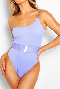 Rib One Shoulder Belted Swimsuit, Lilac