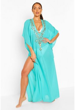 Blue Embellished Sequin Beach Kaftan