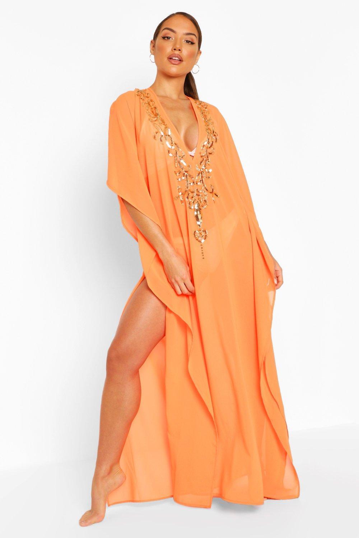 womens embellished sequin beach kaftan - orange - s