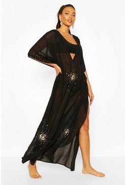 Black Embellished Sequin Beach Kaftan