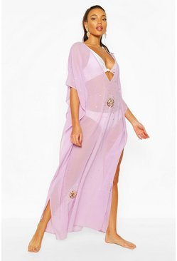 Lilac Embellished Sequin Beach Kaftan
