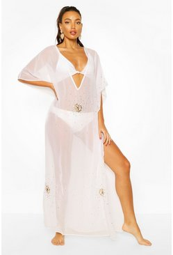 White Embellished Sequin Beach Kaftan